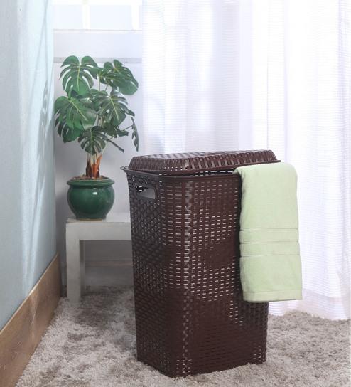 Cello Eliza Plastic 50 L Brown Laundry Basket