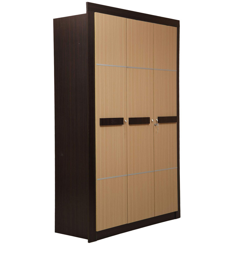 Cedar Three Door Wardrobe in Teak & Walnut Colour by Nilkamal  available at Pepperfry for Rs.24210