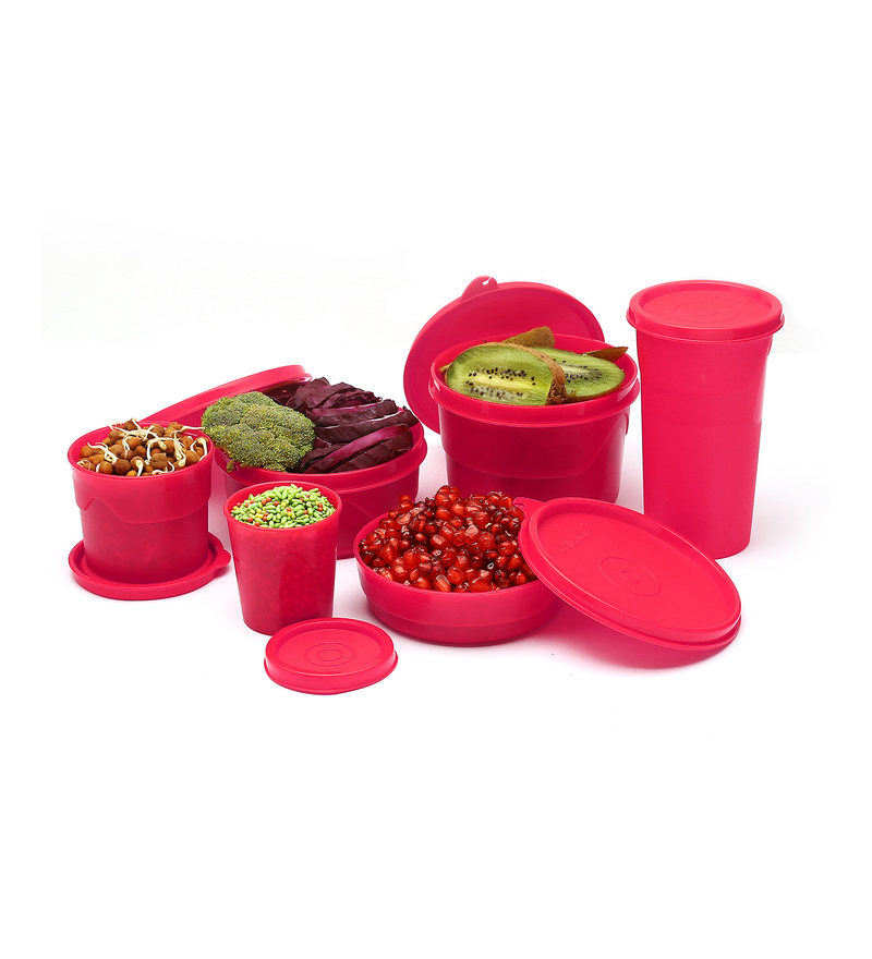 Cello Max Fresh Club Pink Round Canister & Jar - Set of 6  available at Pepperfry for Rs.379