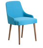 Celano Accent Chair (Set of 2) in Blue Colour with Cocoa Legs by CasaCraft