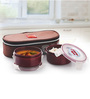Cello Max Fresh Brown Polypropylene 300 ML Lunch Boxes with Bag - Set of 2