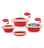 Cello Red Plastic Double Wall  Novel Casserole - Set of 3
