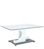 Center Table with Glass Top & C Shape White Pillars  by Parin