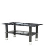 Center Table with Glass Top (Apple) & Shelf in Black Colour by Parin