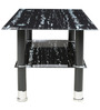 Center Table with Rectangular Glass Top in Black Marble Stone Finish by Parin