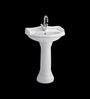 Cera Celeste White Ceramic Wash Basin with Pedestal