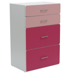 McMimi Chest of Four Drawers in Red and Pink Colour by Mollycoddle