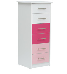 McMimi Chest of Six Drawers in Red and Pink Colour by Mollycoddle
