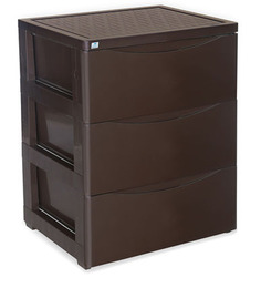 Chester Series 42 Three Drawer Storage Cabinet in Brown Colour by Nilkamal