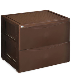 Chester Series 42 Two Drawer Storage Cabinet in Brown Colour by Nilkamal