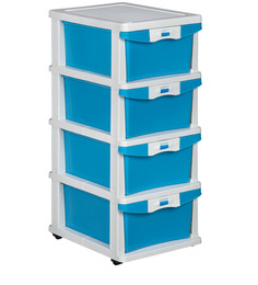 Chester Storage Drawer Series in Cream & Transparent Blue Colour by Nilkamal