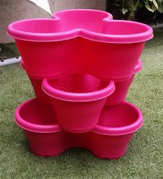 Chhajed Garden Stacking Pots Pink,Vertical Flower Tower Pots