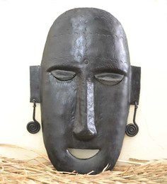 Chinhhari Arts Black Wrought Iron Buddha Mask