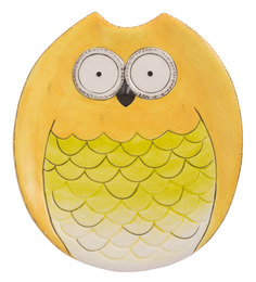 Chumbak Wide Eyed Owl Yellow Ceramic Platter
