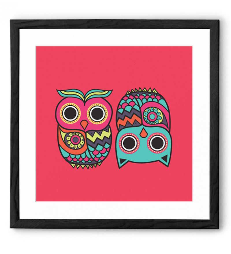 Chumbak Pink Owl Black Framed Art Print By Chumbak Online