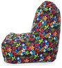 Chair Cotton Canvas Floral Design Bean Bag XXL Size with Beans by Style Homez