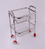 Chakmak Silver Stainless Steel Fruit Trolley
