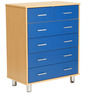Atsuki Chest of Six Drawers in Maple and Blue Finish by Mintwud