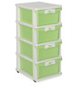 Chester Series 24 Four Drawer Storage Cabinet in Cream & Pastel Green Colour by Nilkamal