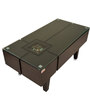 Chex Box Table with Glass Top & Pebbles in Dark Brown Finish by Maruti Furniture