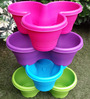 Chhajed Garden Multicolor Plastic Stacking Flower Pot - Set of 4