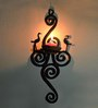 Chinhhari Arts Black Wrought Iron Single Candle Stand