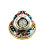 Chitrahandicraft Multicolor Marble Peacock Table Clock