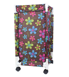 CiplaPlast Flower Print Canvas 20 L Multicolour Laundry Basket & Bag Hamper