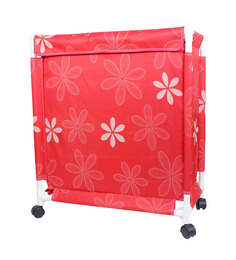 CiplaPlast Floral Print Canvas 20 L Red Laundry Basket & Bag Hamper