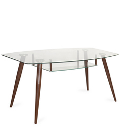 City Six Seater Dining Table In Brown Finish By @Home