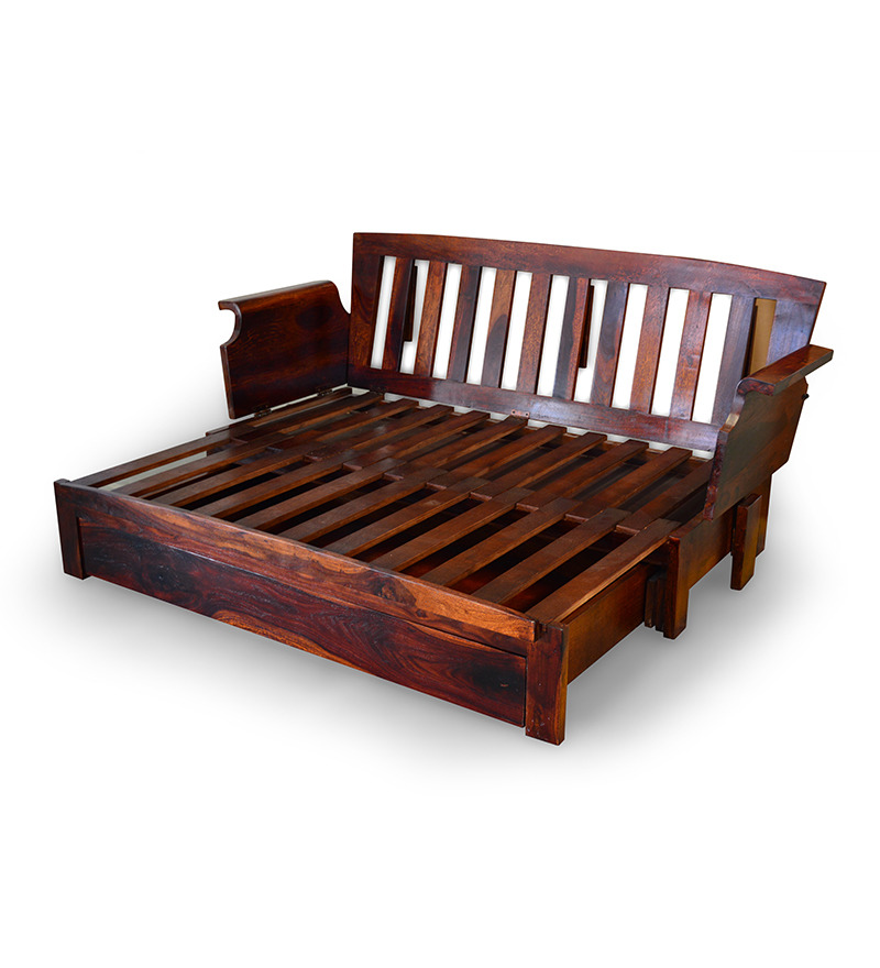 Cinnamon storage wooden sofa cum bed with mudramark by for Pics of sofa come bed