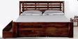 Clancy Queen Bed with Storage in Provincial Teak Finish by Woodsworth