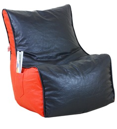 Classic Style Filled Lounger Bean Bag In Red N Black Colour By Orka