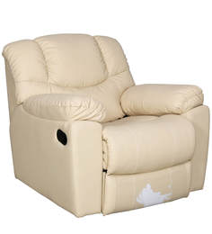 Clover One Seater Manual Recliner in Cream Colour by Sofab