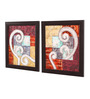 Clasicraft Multicolour Canvas 26 x 0.8 x 15 Inch Abstract Framed Wall Art Painting - Set of 2