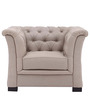 Classic One Seater Sofa with Curved Arms & Tuftings in Tan Colour by Afydecor