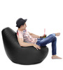 Classic Bean Bag (Cover Only) XXXL size in Black Colour  by Style Homez
