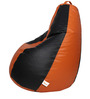 Classic Bean Bag with Beans in Black and Orange Colour by Sattva