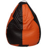 Classic Bean Bag with Beans in Brown and Orange Colour by Sattva