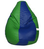 Classic Bean Bag with Beans in Royal Blue and Neon Green Colour by Sattva