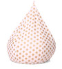 Classic Cotton Canvas Polka Dots Design Bean Bag XL Size with Beans by Style Homez