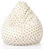 Classic Cotton Canvas Polka Dots Bean Bag XXL Size with Beans by Style Homez