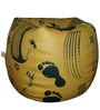 Foot Prints Theme Filled Bean Bag in Black & Yellow Colour by Orka