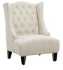 Classic Style Wing Back Chair with Diamond Tufting in White Color by Afydecor