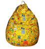 Classic  Bean Bag Cover without Beans in Yellow Youth Print by Sattva