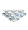 Clay Craft Blue Sceptre Bone China 195 ML Cup & Saucer - Set of 6