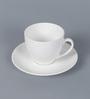 Clay Craft Ghb Plain Bone China 170 ML Cup & Saucer - Set of 6