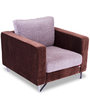 Clinton One Seater Sofa in Grey & Brown Colour by Durian