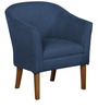 Club Accent Chair with Round Back & Tight Body Upholstery in Blue Colour by AfyDecor