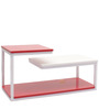 Clubbed Center Table in Red & White Glossy Laminate by Casamia